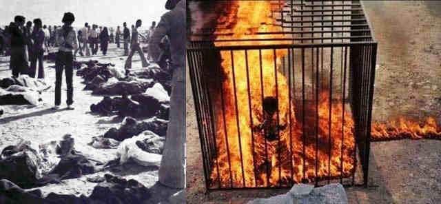 در بالا جنایت داعش ایران در آتش زدن سینما رکس آبادان در سال ۱۳۷۹ است که ۶۰۰ تن از مردم بیگناه را در پشت درهای بسته و قفل شده زنده زنده در آتش سوزاندند و فرتور دوم جنایت داعش در عراق در به آتش کشیدن خلبان اردنی نشان می دهد. گرچه هردو جنایتی بس بزرگ است که از سوی دو داعش ایران (رژیم اسلامی) و داعش کنونی در عراق به عمل آمده ولیکن با مقایسه ابعاد آن دو به ابعاد جنایت رژیم اسلامی پی خواهید برد.