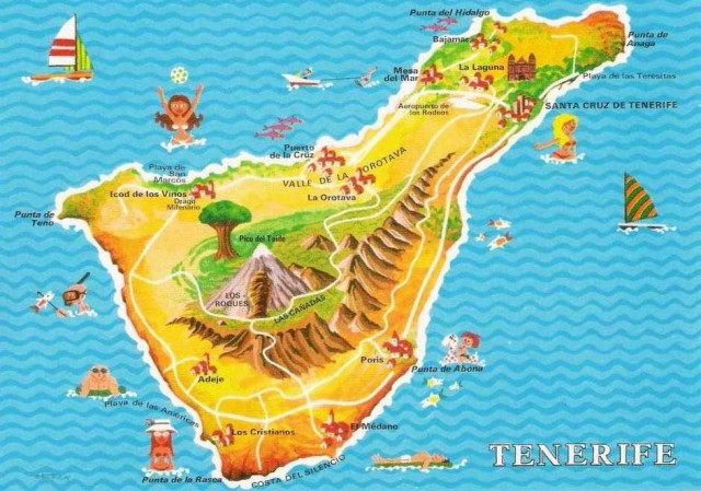 این نقشه کلی جزیره تناریف و موقعیت جغفافیایی آن در اقیانوس کبیر را نشان می دهد.