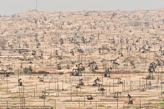 نصب تلمبه ها واستخراج نفت در کالیفرنیا نیز نوع دیگر آلودگی و صدمه زدن به طبیعت دست نخورده است.