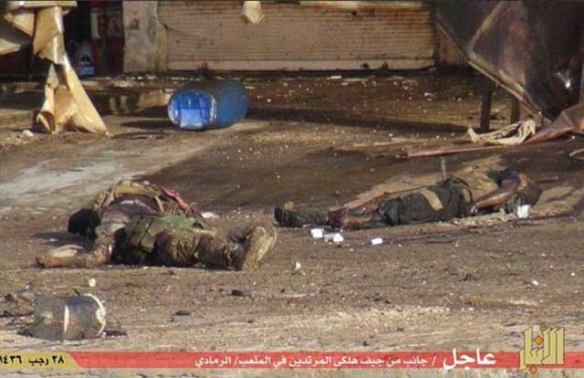 پیکر سربازان عراقی که در بابر داعش ایستادگی کردند در خیابان های رمادی پخش و پراکنده شده