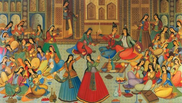 گروهی از زنان ایرانی در حال اجرای موسقی، نقاشی از آثار دوره صفوی در اصفهان
