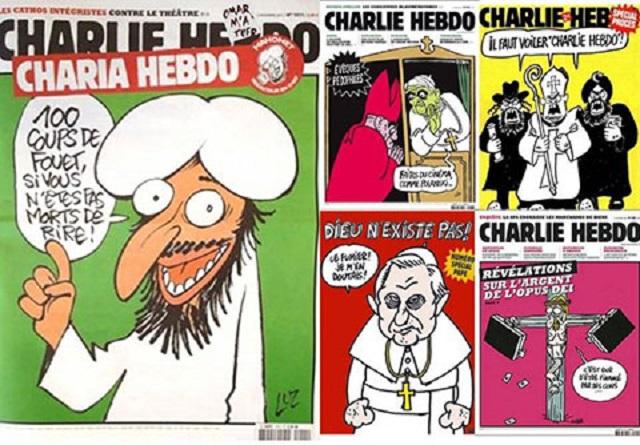 پذیرش افکار متفاوت و افراد متفاوت مشکل امروز ج.امع اسلامی از جمله ایران است. پذیرش همجنسگرایان ، نا خداباوران و هر فرد متفاوت برای ما سخت است! سمت چپ کاریکاتور محمد است که باعث کشتار نویسندگان و کارمندان روزنامه چارلی هبدو شد.  سمت راست ، انواع کاریکاتور درباره ادیان دیگر است.  اما فقط مسلمانان هستند که دست به کشتار می زنند. چون قرآن گفته بکشید تا بروید به بهشت.