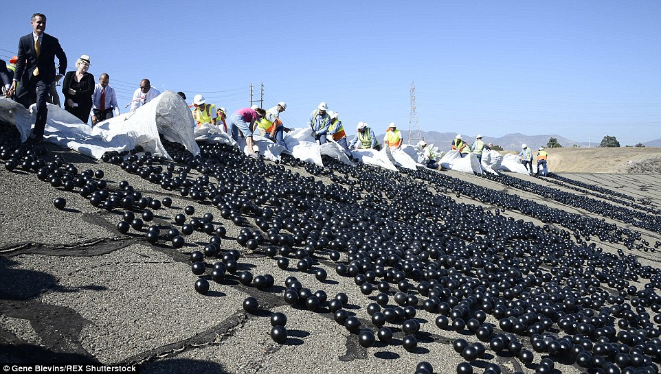 releasing of black balls on top of water resevoir to prevent water evapouration