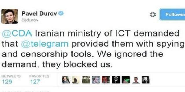 مدیر تلگرام :  « وزارت ارتباطات و فناوری اطلاعات رژیم ایران از این شرکت خواسته تا ابزارهای جاسوسی و سانسور تلگرام را در اختیارش قرار دهد تا از ایرانیان جاسوسی کند.» وی گفت: رژیم ایران میخواهد از تلگرام برای جاسوسی از شهروندان خود استفاده کند تا پیامهای خصوصی را بخوانند و سانسور کنند ما نمیتوانیم در این زمینه به آنها کمک کنیم و نخواهیم کرد.