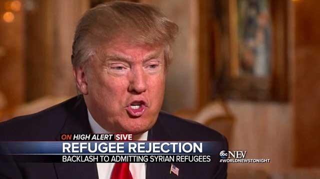 دونالد ترمپ از جمهوری خواهان و برنامه ریز اصلی مخالفت با پذیرفتن آوارگان سوری
