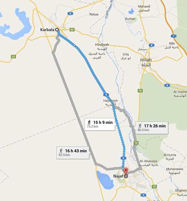 پیاده روی در مسیر نجف -کربلا صورت می گیرد و آنهم عموماً خود عراقی های شیعه هستند. حالا رژیم کذایی ایران با صرف میلیون ها دلار در این مسیر امکانات رفاهی فراهم کرده است. امکاناتی که هرگز در راههای درون ایران دیده نمی شود.