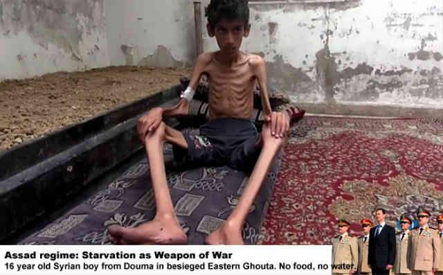 با تکنیک های جنگی سپاه پاسداران تحت امر خامنه ای آشنا شوید! محاصره خوراکی روستاهای مخالف اسد! شعارشان این است: در برابر اسد تعظیم کنید و یا از گرسنگی بمیرید! آیا این چیزی است که ارتش ایران می خواهد شریکش شود؟