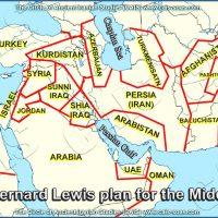 نقشه شوم برناد لوئیس Bernard_Lewis در تقسیم خاورمیانه.