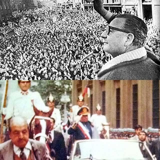 سالوادر آلنده رئیس جمهور برگزیده مردم، شیلی به هرکجا که می رفت، و هرکار می کرد، با پیشواز و پشتیبانی مردم همراه بود. در حالی که؛ پینوشه، یک دیکتاتور، یک خودکامه و مردم ستیز، تنها پشتیبانی که داشت عده ای آدم کش و خونخوار نظامی که در راه هدف های او دست به هر جنایتی می زدند. آلنده نماینده مردم، و پینوشه نماینده آمریکا بود. این دو را مقایسه کنید تا تفاوت فاحش میان آنان را دریابید.
