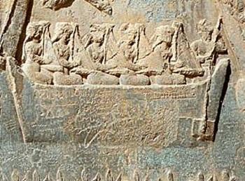 قایقی با دختران چنگ نواز. هنر و موسیقی در دوران ساسانی پیشرفتی شگرف و بی نظیر داشت که با حمله اعراب به زوال رفت.