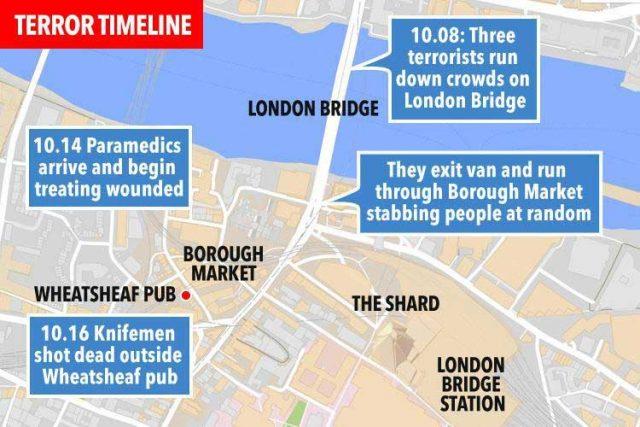 مسیر و جایگاههای کشتار چند شب پیش در لندن