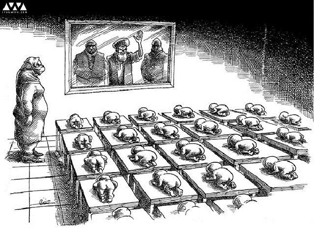"""آنگاه همین موجود الله پرست، هنگامی که سنگ تیپا خورده می شود و سرکوب می گردد، شارلاتان های مافیایی حقش را می خورند و حیثیتش را می برند، فریاد """"آزادی"""" سر می دهد و می خواهد تا در چارچوب همان بنیان زهرآگین و چارچوبی که از نوزادی - بدون اختیار، آزادی و آگاهی و میل باطنی خودش - برایش تعریف کرده اند،"""