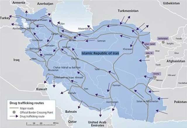 نقشه راههای قاچاق مواد مخدر از ایران که مورد استفاده پاسداران قرار میگرفت
